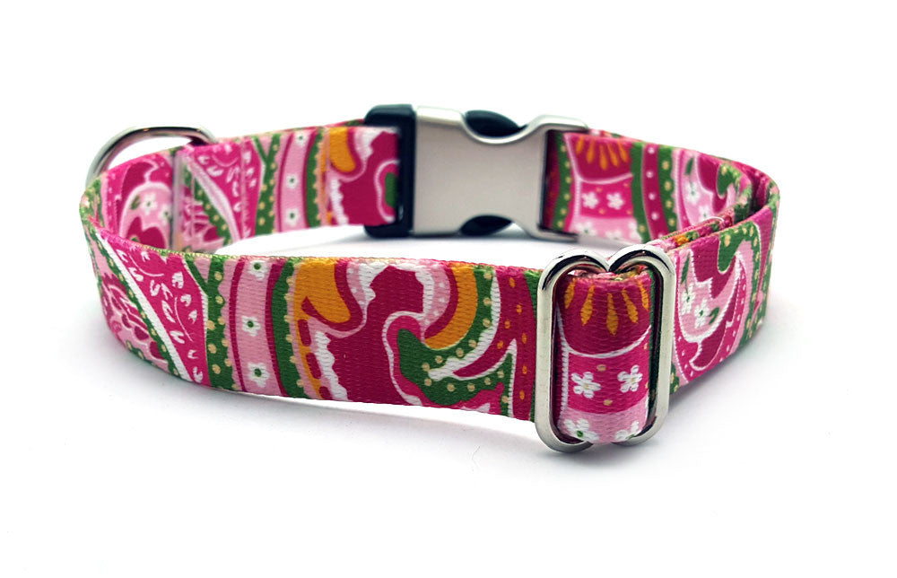Pink Paisley Polyester Webbing Dog Collar with Laser Engraved Personalized Buckle