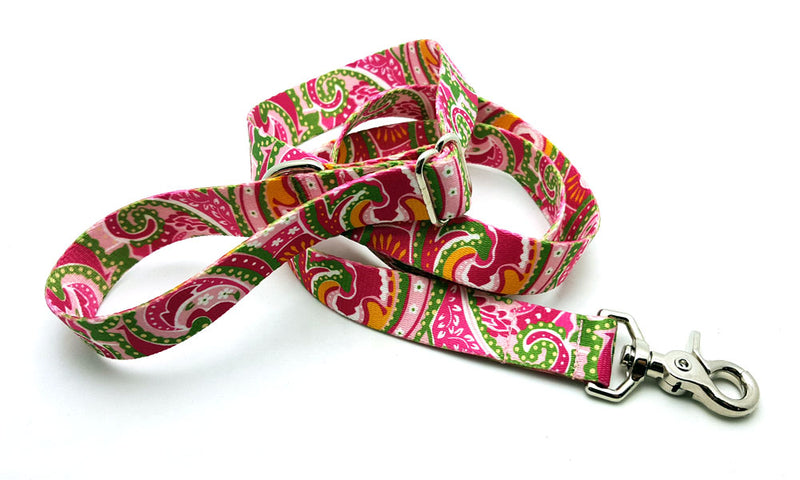 Pink Paisley Adjustable Handle Leash