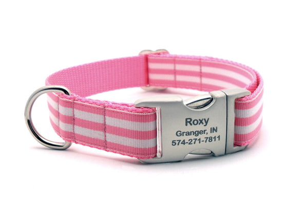 Cabana Stripe Dog Collar with Laser Engraved Personalized Buckle - PINK - Flying Dog Collars