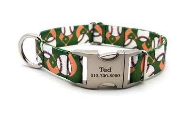 Play Ball Polyester Webbing Dog Collar with Laser Engraved Personalized Buckle - Flying Dog Collars
