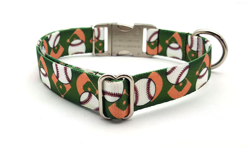 Play Ball Polyester Webbing Dog Collar with Laser Engraved Personalized Buckle