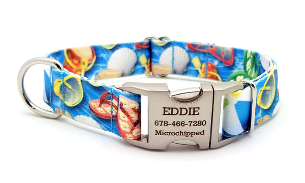 Pool Party Polyester Webbing Dog Collar with Laser Engraved Personalized Buckle - Flying Dog Collars