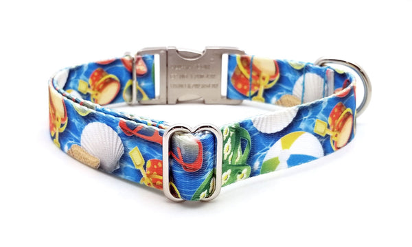 Pool Party Polyester Webbing Dog Collar with Laser Engraved Personalized Buckle