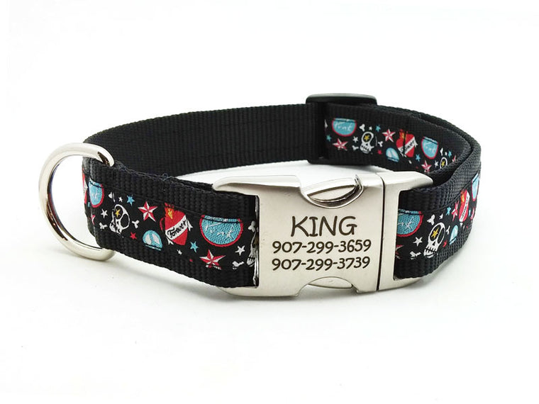 Punk Skulls Dog Collar with Personalized Buckle