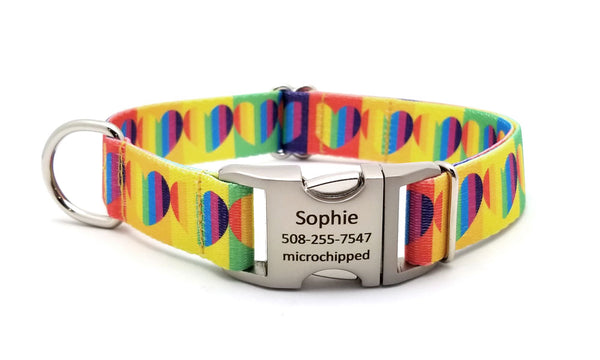 Rainbow Hearts Polyester Webbing Dog Collar with Laser Engraved Personalized Buckle