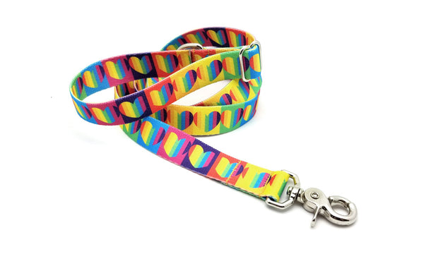 Rainbow Hearts Adjustable Handle Leash