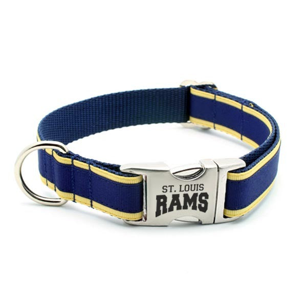 St. Louis Rams Dog Collar with Laser Etched Aluminum Buckle - Flying Dog Collars