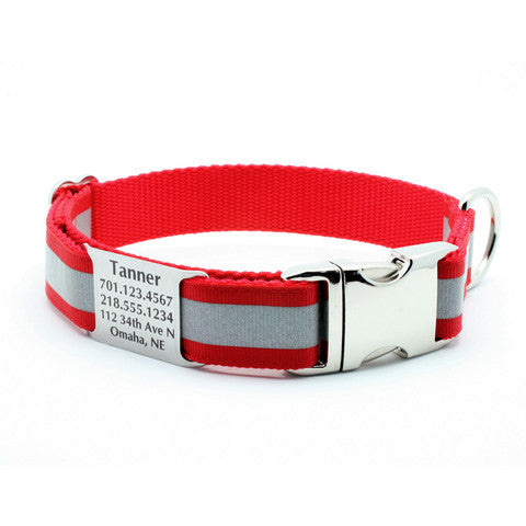 Red Reflective Dog Collar with Personalized NamePlate - Flying Dog Collars