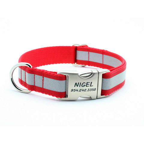 Red Reflective Dog Collar with Laser Engraved Personalized Buckle