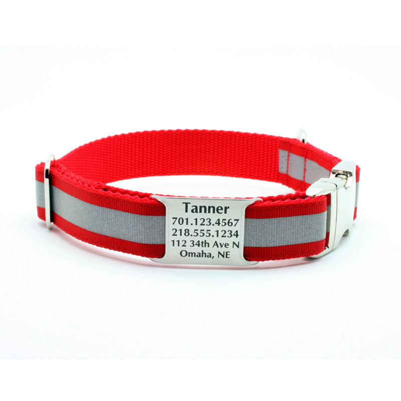 Red Reflective Dog Collar with Personalized NamePlate