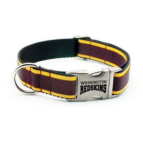 Washington Redskins Dog Collar with Laser Etched Aluminum Buckle & Slide On Plate