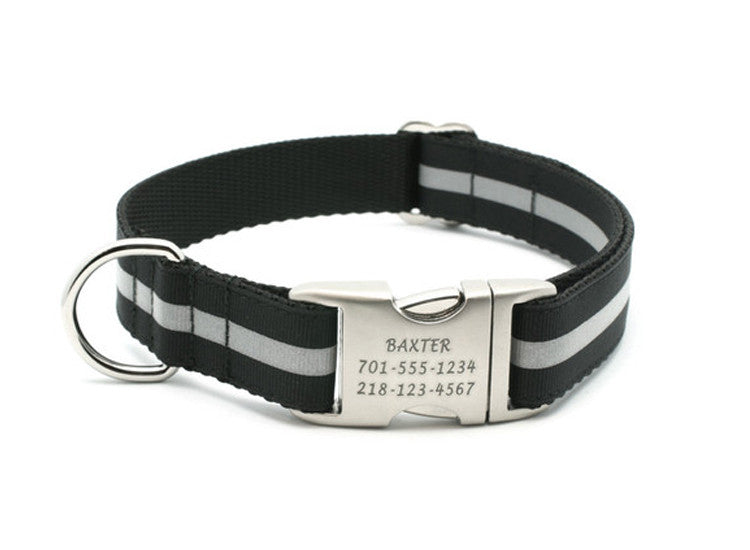 Black Reflective Dog Collar with Laser Engraved Personalized Buckle - Flying Dog Collars