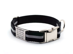 Black Reflective Dog Collar with Personalized NamePlate - Flying Dog Collars