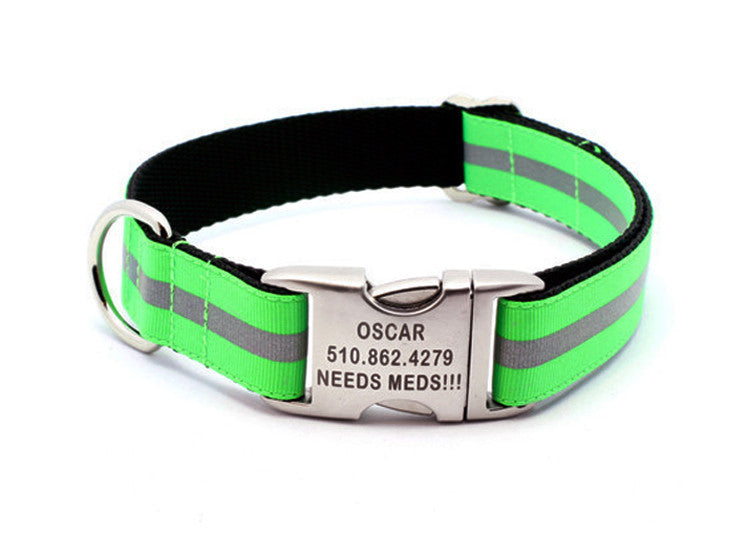 Neon Green Reflective Dog Collar with Laser Engraved Personalized Buckle