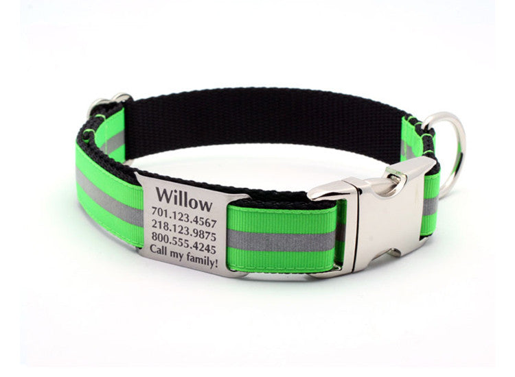 Neon Green Reflective Dog Collar with Personalized NamePlate