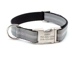 Dove Gray Reflective Dog Collar with Laser Engraved Personalized Buckle - Flying Dog Collars