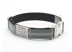 Dove Gray Reflective Dog Collar with Personalized NamePlate - Flying Dog Collars