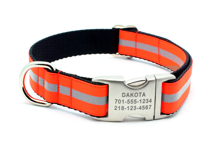 Blaze Orange Reflective Dog Collar with Laser Engraved Personalized Buckle - Flying Dog Collars