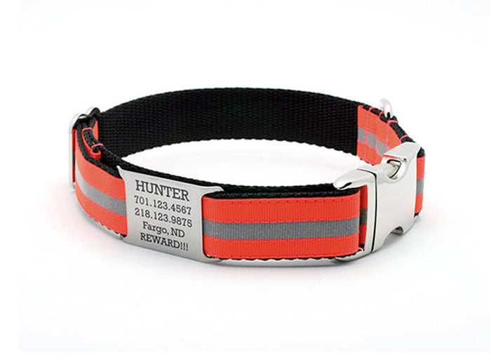 Blaze Orange Reflective Dog Collar with Personalized NamePlate - Flying Dog Collars
