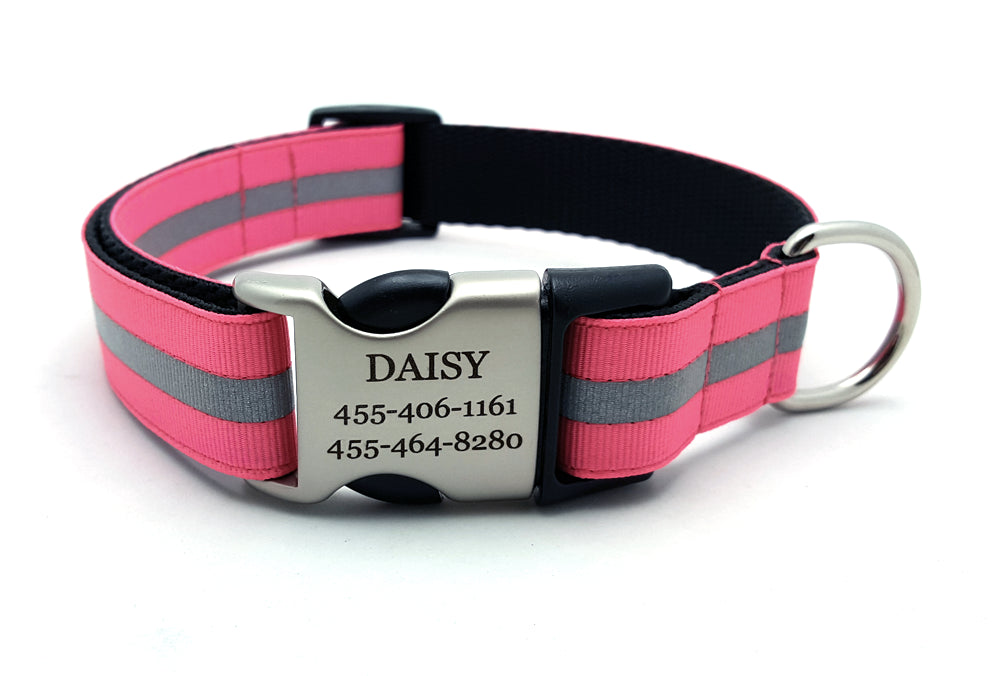 Hot Pink Reflective Dog Collar with Laser Engraved Personalized Buckle