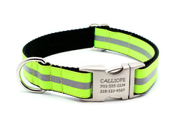 Neon Yellow Reflective Dog Collar with Laser Engraved Personalized Buckle - Flying Dog Collars