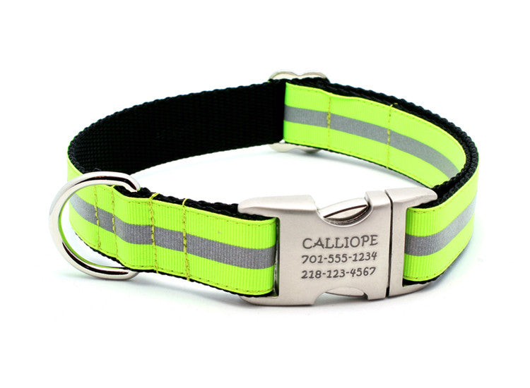 Neon Yellow Reflective Dog Collar with Laser Engraved Personalized Buckle