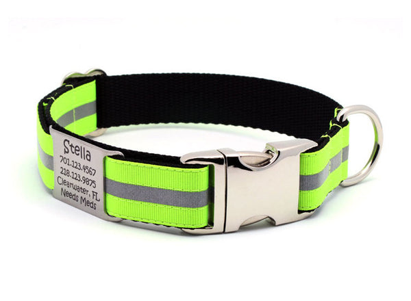Neon Yellow Reflective Dog Collar with Personalized NamePlate - Flying Dog Collars