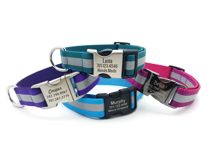 Reflective Dog Collar with Laser Engraved Personalized Buckle - Flying Dog Collars