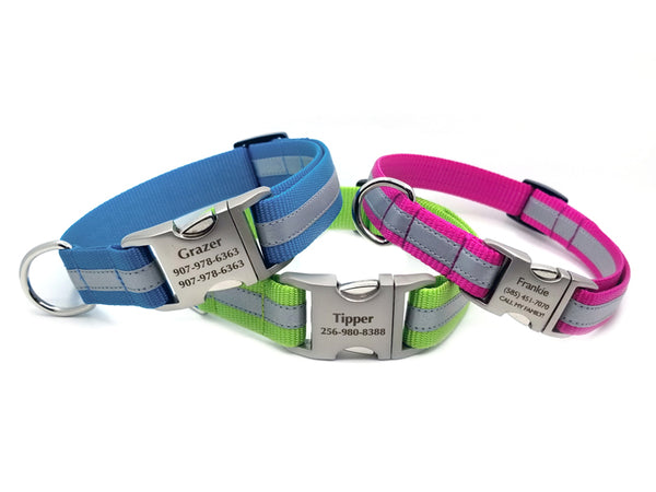 Reflective Stripe Personalized Buckle Nylon Dog Collar