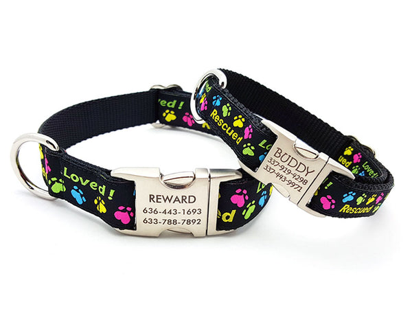 Rescued and Loved Dog Collar with Personalized Buckle - Flying Dog Collars