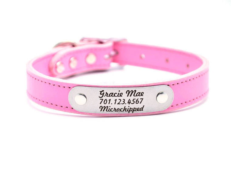 Leather Dog Collar with Laser Engraved Personalized Nameplate - ROSE