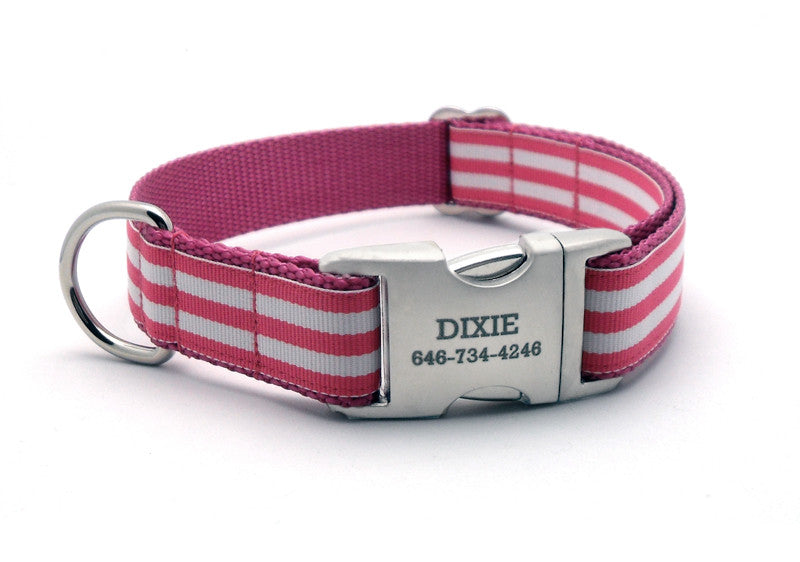 Cabana Stripe Dog Collar with Laser Engraved Personalized Buckle - ROSE - Flying Dog Collars