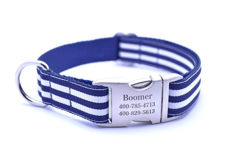 Cabana Stripe Dog Collar with Laser Engraved Personalized Buckle - ROYAL - Flying Dog Collars