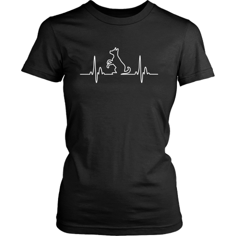 Dog Heartbeat Womens T-shirt - Flying Dog Collars