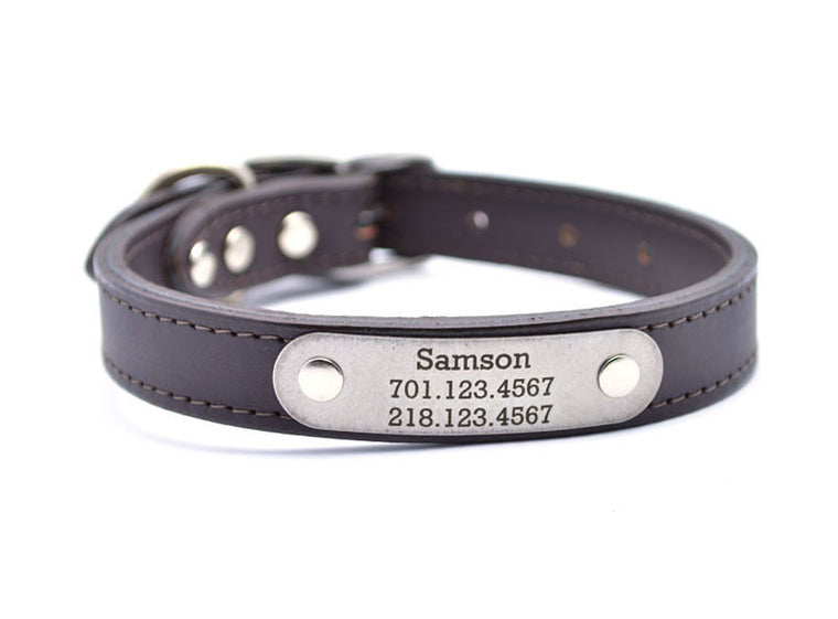 Leather Dog Collar with Laser Engraved Personalized Nameplate - SABLE
