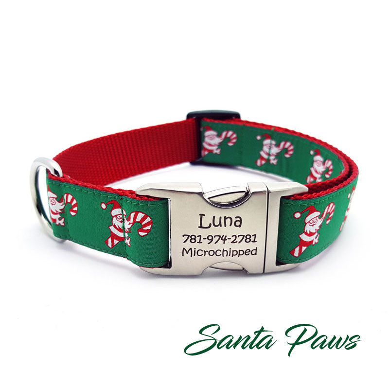 Santa Paws Dog Collar with Personalized Buckle