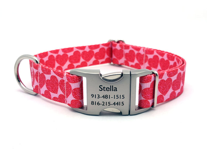 Scrolling Hearts Polyester Webbing Dog Collar with Laser Engraved Personalized Buckle