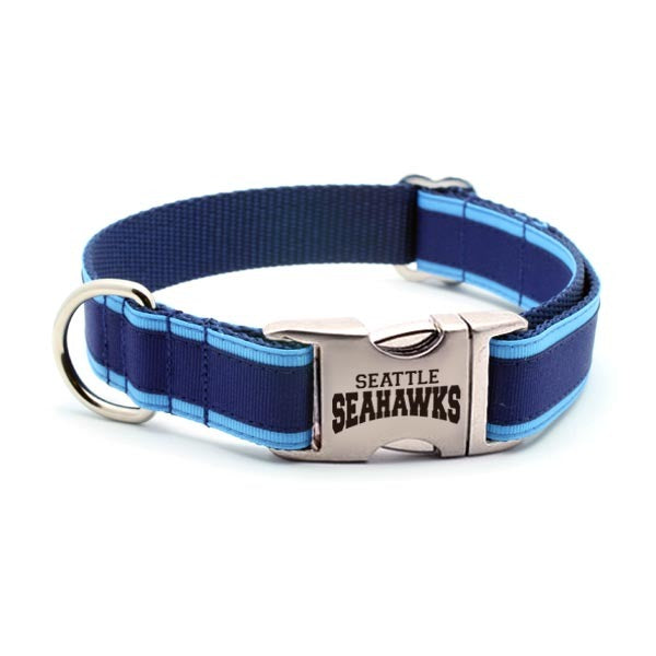 Seattle Seahawks Dog Collar with Laser Etched Aluminum Buckle - Flying Dog Collars