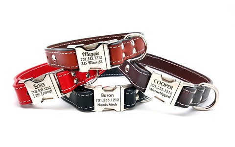 Side Release Buckle Leather Collar with Personalized Buckle