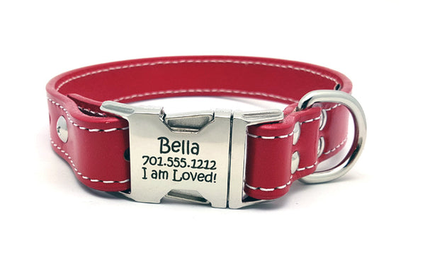 Side Release Buckle Leather Collar with Personalized Buckle - Flying Dog Collars