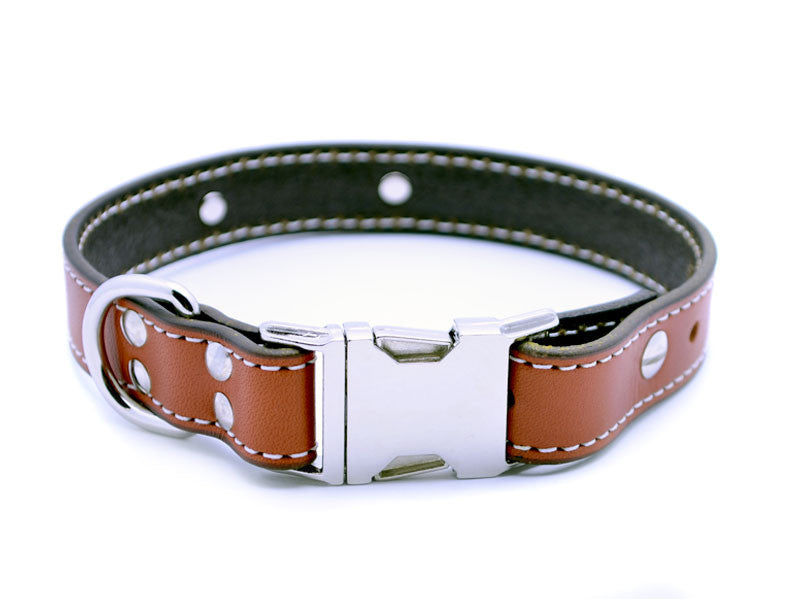 Side Release Buckle Leather Collar with Personalized Nameplate
