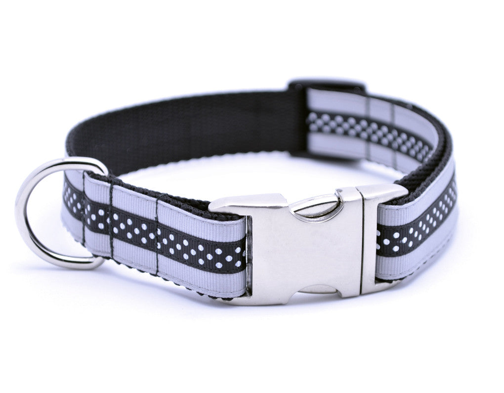 Mini Polka Dot with Plain Buckle - SILVER/BLACK