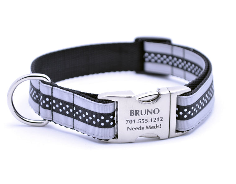 Silver/Black Mini Polka Dot Dog Collar with Laser Engraved Personalized Buckle