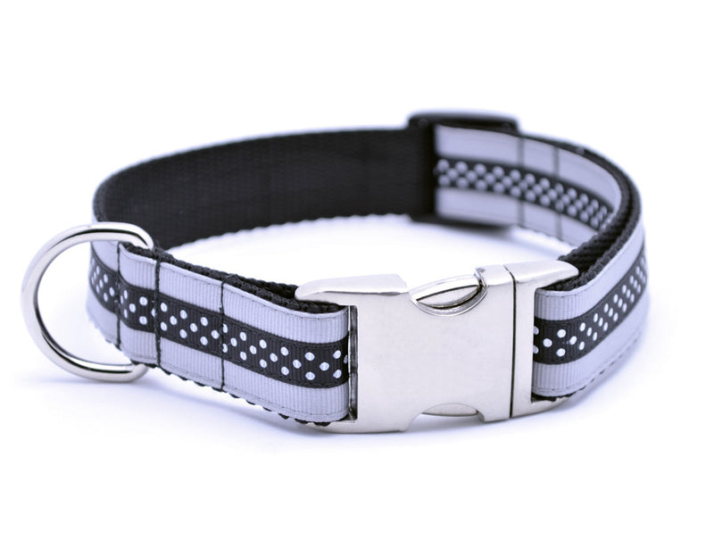 Mini Polka Dot with Plain Buckle - SILVER/BLACK - Flying Dog Collars