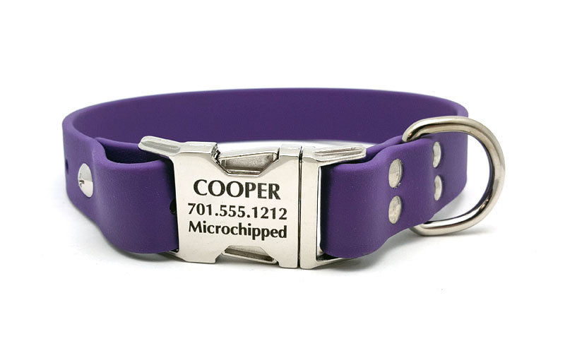 Waterproof Collar with Laser Engraved Side Release Buckle