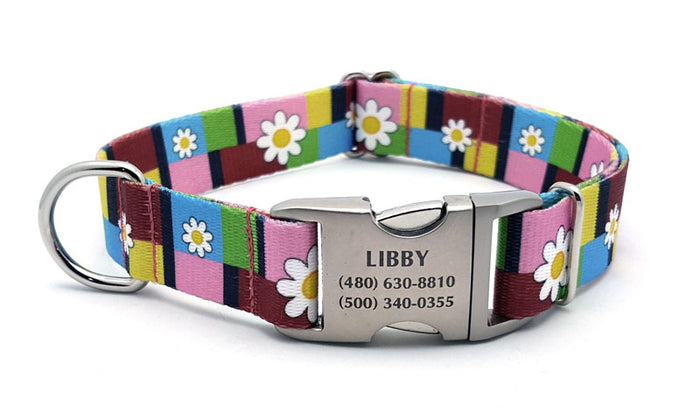 Spring Daisies Polyester Webbing Dog Collar with Laser Engraved Personalized Buckle