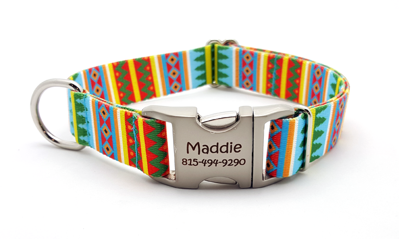 Spring Pines Polyester Webbing Dog Collar with Laser Engraved Personalized Buckle
