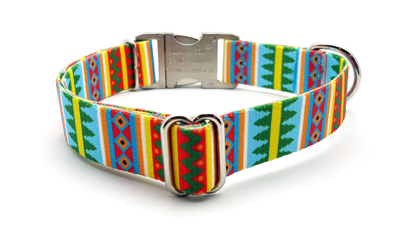 Spring Pines Polyester Webbing Dog Collar with Laser Engraved Personalized Buckle - Flying Dog Collars