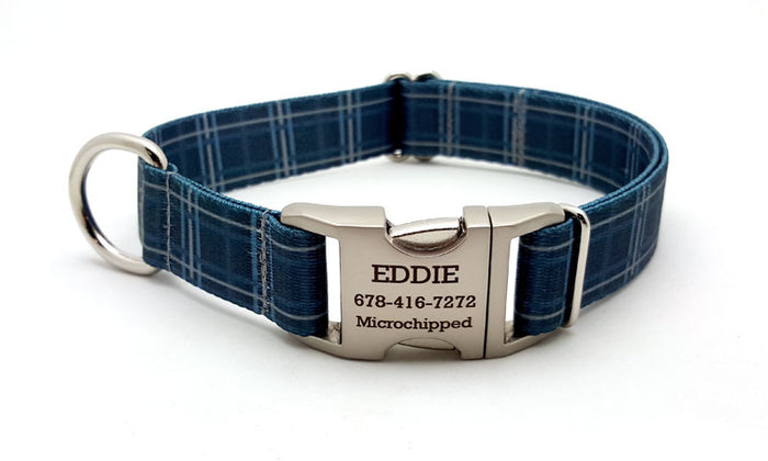 Spring Plaid Polyester Webbing Dog Collar with Laser Engraved Personalized Buckle - DENIM