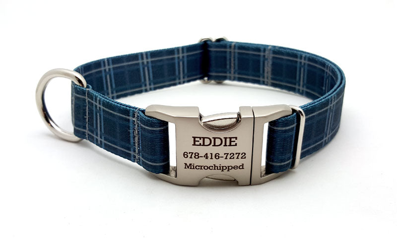 Spring Plaid Polyester Webbing Dog Collar with Laser Engraved Personalized Buckle - DENIM - Flying Dog Collars